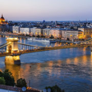 Chain Bridge and Danube River, night in Budapest